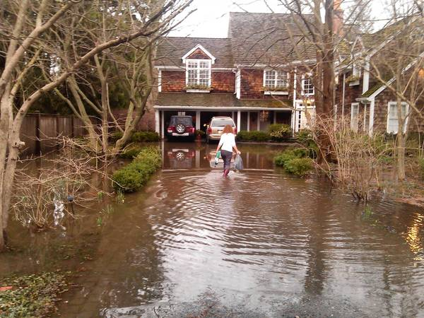 Jan Bawden wades through flood water at her home on Dewindt Road in Winnetka following the April 18 storm. Residents of Dewindt would benefit from the proposed $34.5 million Willow Road tunnel, recently approved by the Village Council.