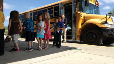 Preschool students return to North Star Central Elementary School after their first school bus ride, part of the district's trial Kindergarten Transition Day held Monday.