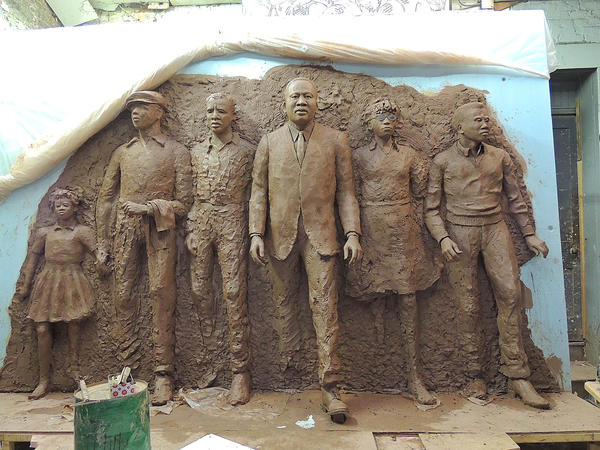 Artist Ed Hamilton is creating a sculpture of Martin Luther King, Jr. and fellow marchers for the King Memorial Plaza on Jefferson Avenue in Newport News. The finished work will be in bronze and affixed to the wall of the plaza.