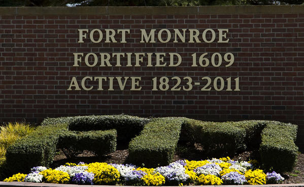 The front gate sign at Fort Monroe. The Army will be transferring ownership of Fort Monroe to from the U.S. government to the commonwealth of Virginia.
