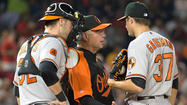 WASHINGTON -- After Kevin Gausman's indoctrination into the big leagues hit a thoroughly rough patch Tuesday night against the Washington Nationals, Orioles manager Buck Showalter was definitive in saying that the heralded right-hander will remain in the Orioles starting rotation.