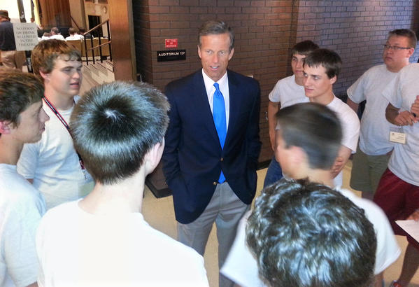 U.S. Senator John Thune, center, meets with delegates of Boys State Tuesday at the Johnson Fine Arts Center on the campus of Northern State University. American News Photo by Scott Waltman
