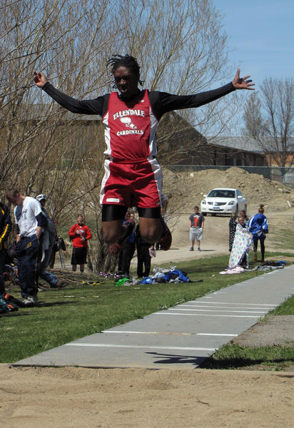 Sophomore Kellemon Hinton of Ellendale High School won the triple jump at the state track meet in Bismarck, N.D., on Saturday.