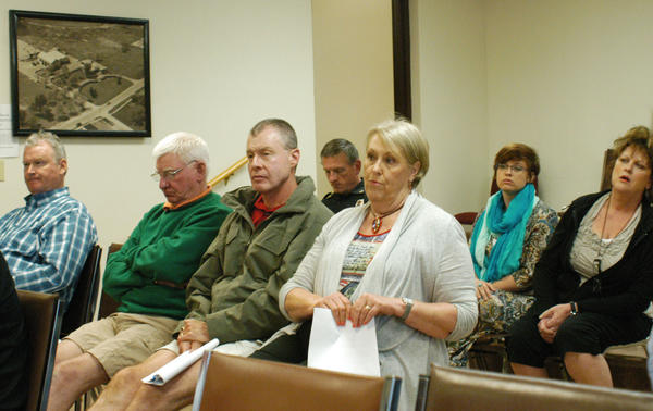 """I'm in favor of outdoor (full-service) dining,"" said Monica Ross (front row, right), a Boyne City resident, during public comment at the Boyne City Commission meeting Tuesday. ""I think it adds to the ambiance of the city. I can't see where five or six tables would create a large problem for the city to manage."" Despite support from many who attended the meeting, the city moved forward to revise its zoning ordinance, but not allow alcohol to be served at sidewalk cafes."