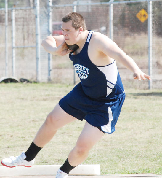 Petoskey freshman Tommy Roush won both the shot put, 51 feet, 9 3/4 inches; and the discus, 138-9; at Gaylord's Meet of Champions Tuesday at Gaylord High School. Roush was also named the male athlete of the meet.