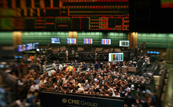 Traders work in the energy options pit at the New York Mercantile Exchange in a 2008 file photo.