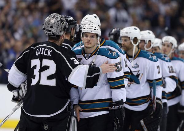 After vanquishing the San Jose Sharks in Game 7 of their Western Conference semifinal series, the Kings will next play either Detroit or Chicago.