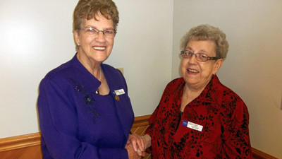 Betty McGee (left) has been selected as the Somerset County Farm Women president for this year. She takes over the position from Marilyn Ogline (right).