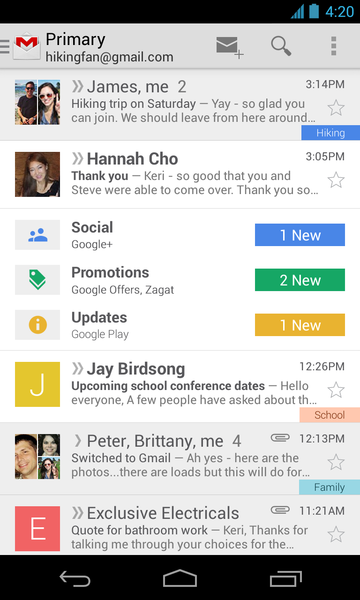 A redesign of Gmail groups emails into categories. The redesign is seen here on the iPhone.