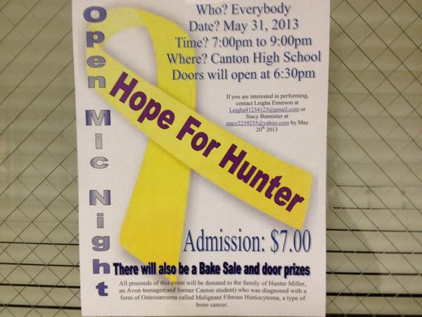 Students at Canton High School will hold a fundraiser to help a youth who lived in Canton and who is fighting cancer. This sign promoting the event was posted in the high school.
