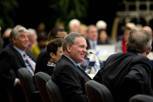 University of Illinois board of trustees, including Patrick Fitzgerald, center, during a meeting in Chicago.