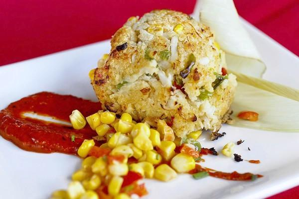 Spark Woodfire Grill's crab cake appetizer.