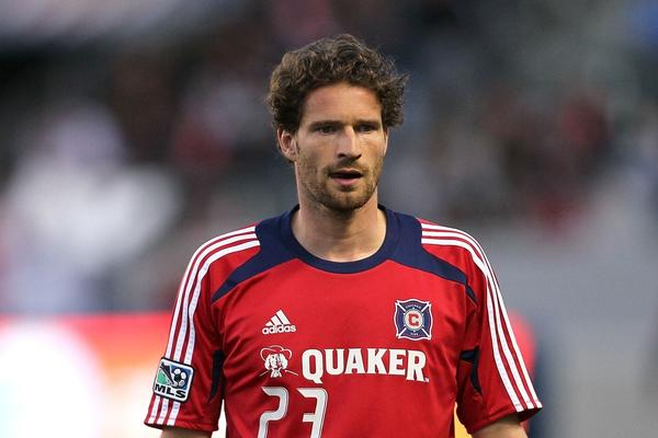 Arne Friedrich of the Chicago Fire warms up prior to the MLS match against Chivas USA at The Home Depot Center on May 4, 2012.