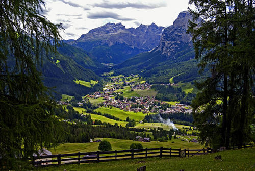 The first day hike of the father and son trip to the Dolomites started in the village of La Villa.