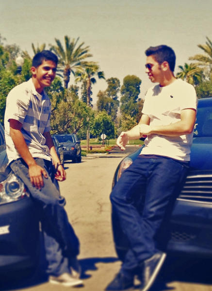 A cell phone photo of Abdulrahman Alyahyan, left, the driver of the car in which 5 teenagers were killed on Monday in Newport Beach, CA. On the right is his Irvine High School friend Omar Soussan, who provided the photo.