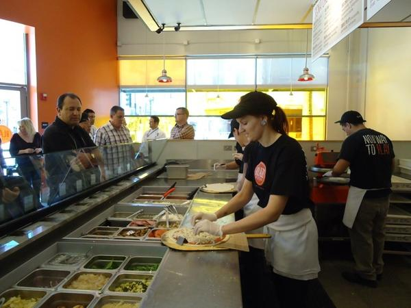 An inside view of Blaze Pizza in Pasadena, Calif.