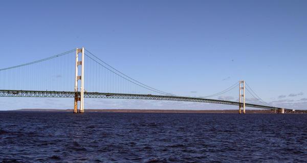 Mackinac Bridge on the Straits of Mackinac in mid-May 2013.