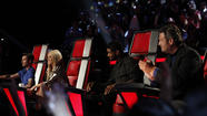 Adam Levine, Shakira, Usher, Blake Shelton (l-r) on 'The Voice'