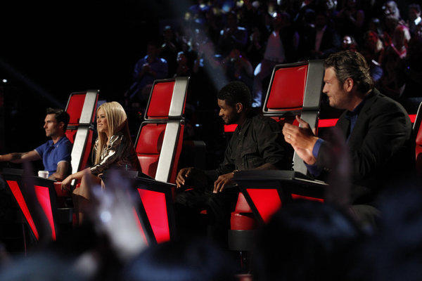 "From left, Adam Levine, Shakira, Usher, Blake Shelton on ""The Voice"""