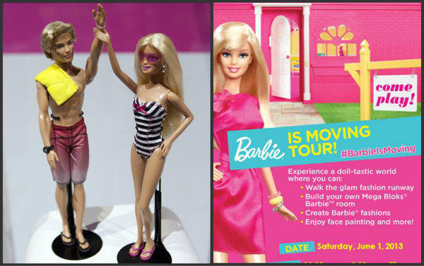 At left, Mattel Inc.'s Ken and Barbie at the American International Toy Fair in New York City in 2011. At right, a flier announcing the Barbie is Moving tour.