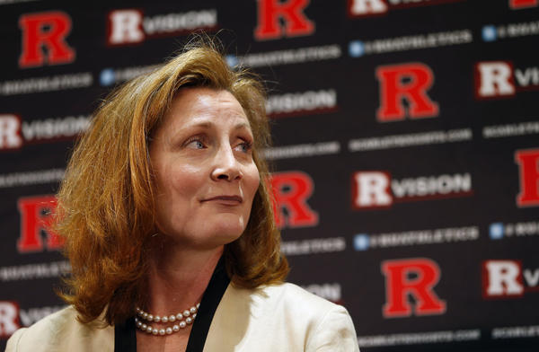 Julie Hermann looks on before being introduced as Rutgers University athletic director on May 15, 2013.