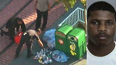 "Authorities search the scene of a ""dry-ice bomb"" at Disneyland. Employee Christian Barnes, 22, right, has been arrested in connection with the incident."