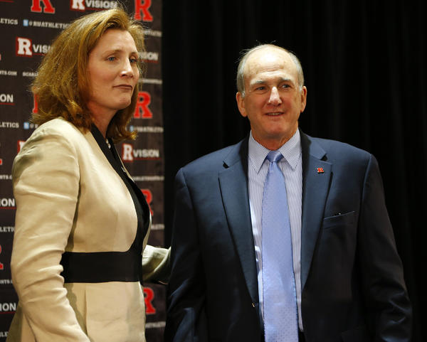 Rutgers president Robert L. Barchi with athletic director Julie Hermann.