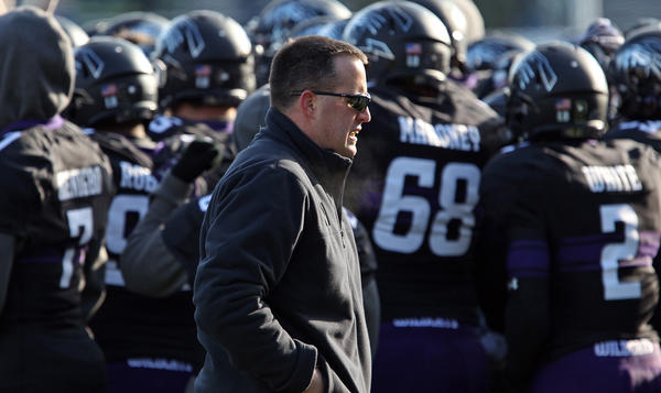 Northwestern coach Pat Fitzgerald works the sideline at Ryan Field.