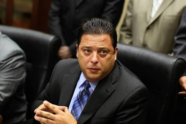 Rep. Bob Rita and other lawmakers hold a news conference Wednesday to talk about gambling legislation.
