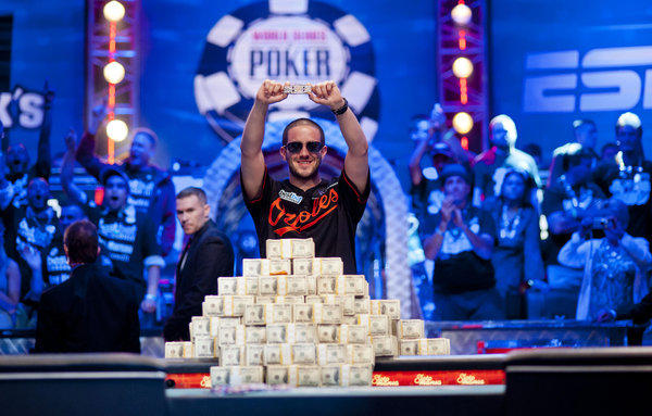 Greg Merson celebrates after winning the main event at the 2012 World Series of Poker.