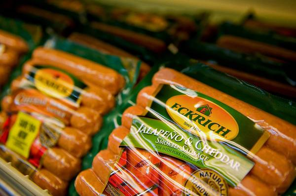 A supermaket displays Eckrich brand smoked sausage from Smithfield Foods Inc., the world's biggest pork processor. China's Shuanghui International Holdings Ltd. has agreed to buy the Virginia-based company.