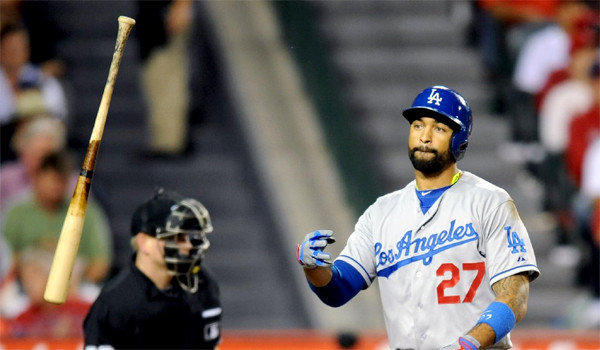 Matt Kemp suffered an injury to his right hamstring during the Dodgers' loss to the Angels, 4-3.
