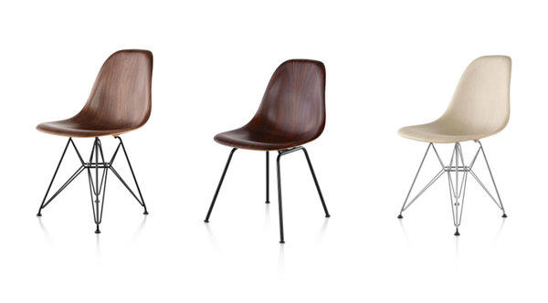 Since the Eames side chair was released in fiberglass in 1951, it hasn't been available in wood until now. From the left: walnut, santos palisander, white ash. More options in the chair legs can be seen in our related photo gallery.