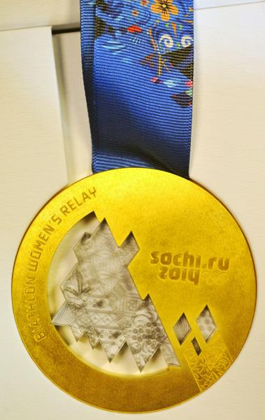The unveiled Sochi 2014 Olympic Gold Medal is displayed during an IOC executive board meeting at the SportAccord International Convention in St. Petersburg on Thursday.