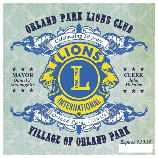 The 2013 - 2015 Orland Park vehicle sticker recognizes the 50th anniversiary of the Orland Park Lions Club.