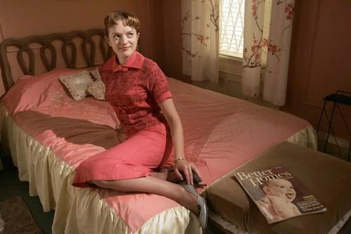 "Elisabeth Moss sits in the bedroom of her character, Peggy Olson, on the set of the AMC television series, ""Mad Men."" ""She takes her hard knocks, but she's definitely not one to make the same mistake twice,"" said Moss."