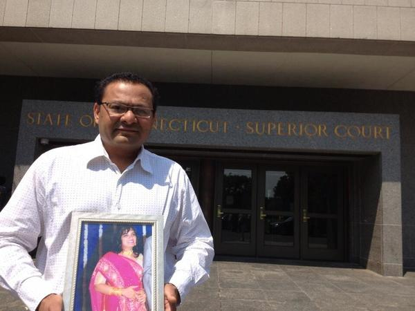 Alpesh Kalaria, Trupti Patel's husband, outside Superior Court Thursday.
