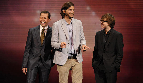 "Jon Cryer, Ashton Kutcher and Angus T. Jones from ""Two and a Half Men."""