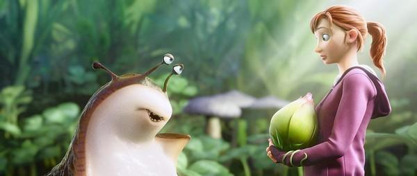 "MK (Amanda Seyfried) encounters a slug named Mub (Aziz Ansari), a self-described ""ladies' man"" in the movie ""Epic."""