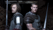 "Rupert Young plays Sir Leon, left, and Tom Hopper plays Sir Percival, Knights of the Round Table in ""Merlin."" (BBC / Syfy)"