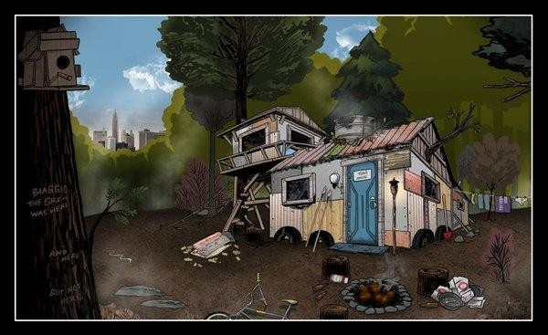 "The concept art for the kids' ramshackle DIY house in ""The Kings of Summer"" shows a second-story sleeping loft and a front entry made from the door of a portable toilet. Click to the gallery to see what the production crew ultimately built for the movie."