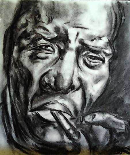 Blues icon Howlin' Wolf is among the legendary blues musicians depicted in charcoal portraits by Orlando artist Brittany Schweizer.