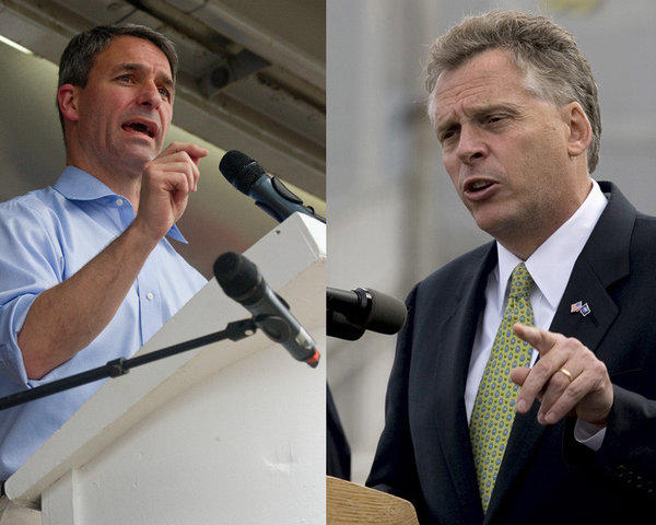 Republican Ken Cuccinelli (L) and Democrat Terry McAuliffe are running for governor in Virginia.