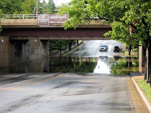 Elmhurst closed the Palmer Drive underpass because of flooding Thursday afternoon.