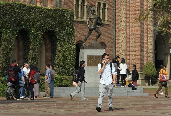 Many college students today engage in casual sex, but how harmful is it? Above, students on the USC campus.