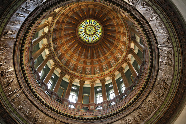 A view looking up shows the interior of the Illinois State Capitol dome in Springfield Thursday, Feb. 28, 2013.