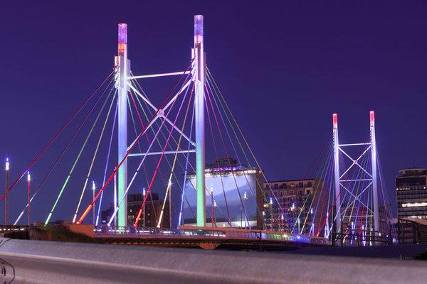 The Nelson Mandela Bridge in Johannesburg, South Africa, has pedestrian walkways on each side.