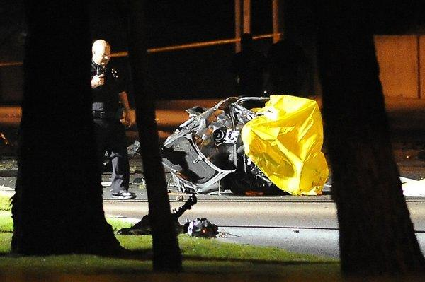 Aftermath of the Newport Beach crash in which five high school students died.