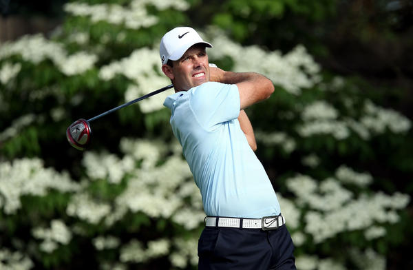 Charl Schwartzel hits his tee shot on the 13th hole during the first round of the Memorial.