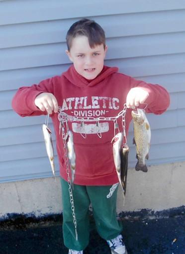 Grant Dell, 9, of Pottstown, shows off the stringer full of trout he caught on the Hokendauqua Creek using fathead minnows.